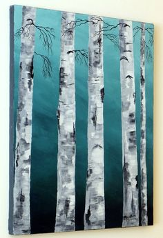 WHITE BIRCH TREES Original Acrylic Painting 16 x by MyHumbleJumble