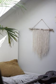 Natural Driftwood Wall Hanging + Botanical Wallpaper