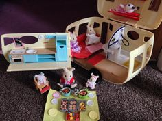 """my daughters have set the caravan up with the rabbit family"" Leanne Storr #sylvaniansummer #sylvanianfamilies"