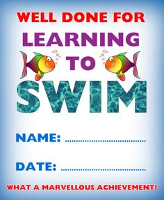 Blank certificate swimming certificate template kids certificate for learning to swim yelopaper Image collections