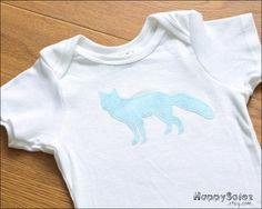 Blue Spotted Fox Onesie -12-18 months - Ready to Ship