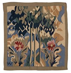 TEXTILE. Tapestry weave. 49 x 46,5 cm. Signed AW (Alma Andreasson-Wenchert). Polychrome Art Nouveau scenery with trees and flowers. Swe.... - Modern Autumn Sale, Stockholm 569 – Bukowskis
