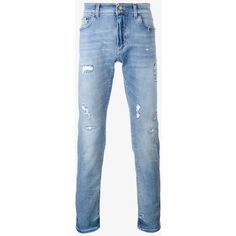 Dolce & Gabbana distressed jeans (€385) ❤ liked on Polyvore featuring men's fashion, men's clothing, men's jeans, blue, mens super skinny stretch jeans, mens light wash jeans, mens slim fit stretch jeans, mens stretch jeans and mens distressed jeans