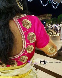 Zardosi Work Blouse, Pattu Saree Blouse Designs, Fancy Blouse Designs, Bridal Blouse Designs, Magam Work Designs, Stylish Blouse Design, Designer Blouse Patterns, Indian Designer Wear, Sarees