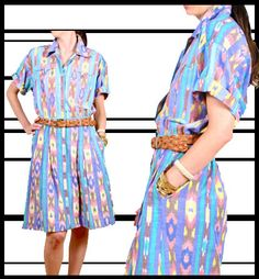 Navajo Southwestern Print 1980s Dress / 80s by recollectvint