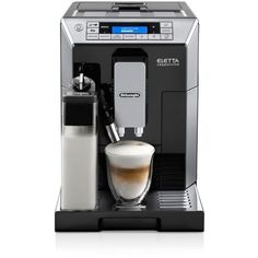 De'Longhi Eletta Digital Super Automatic Espresso and Cappuccino... ($2,000) ❤ liked on Polyvore featuring home, kitchen & dining, small appliances, black, espresso milk frother, delonghi espresso maker, espresso cappuccino machine, latte espresso maker and milk frother