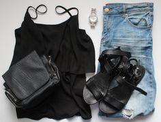 Black Cami / Boyfriend Jeans