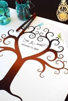 Birds of a Feather Fingerprint Guest Book Tree Canvas, various sizes available! Complete ink and pen kit included! Custom Ink Pads, Colors, Name and Date! Starting at $170