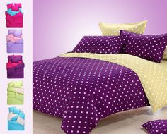 FREE Bedding Sets(quilt cover pillowcases),dots duvet cover set,purple the bed linens,home Bed Sheet Sets, Bed Sheets, Bed Covers, Duvet Cover Sets, Bed Cover Design, Bedroom Decor For Couples, Home Curtains, Bedclothes, Baby Clothes Patterns
