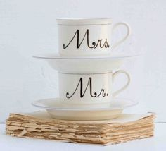 """Mr. and Mrs. Hand Painted Vintage White China Lenox Bride & Groom Gift  Grooms gift-- give it to him with a photo of you with yours and a hot coco packet and a bottle of baileys and a note that says """"I'm ready if you are"""""""