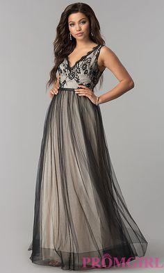 05d953b1077 Lace-Bodice Long Tulle V-Neck Prom Dress