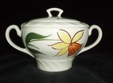 "Blue Ridge ""Daffodil"" Sugar Bowl (""Piecrust"" shape).  $15 on GoAntiques.com.  #Vintage Dinnerware #Blue Ridge ""Daffodil"" #sugar bowl"