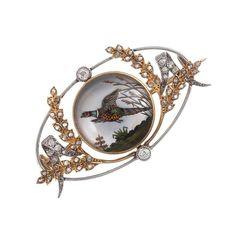 Edwardian Reverse Painted Crystal Pheasant Brooch in Original Box 1