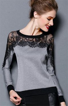Korea Women Casual Fashion Lace Perspective Long Sleeve Tops Blouse