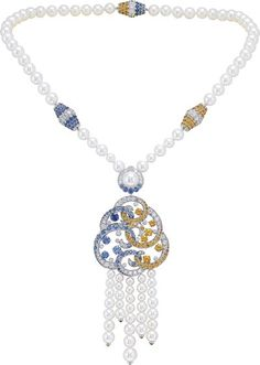 Seven Sea Collection ~ Benguerra long necklace: White gold, diamonds, blue and yellow sapphires, spessartite garnets, white cultured pearls. © Van Cleef &Arpels