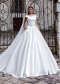 Amazing Satin Off-the-shoulder Neckline A-line Wedding Dresses With Beadings