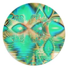 Golden Teal Peacock, Abstract Copper Crystal Party Plate  $29.95