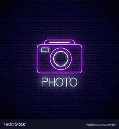 Neon sign photo camera symbol with text Royalty Free Vector Neon Light Wallpaper, Purple Wallpaper Iphone, Iphone Wallpaper Tumblr Aesthetic, Camera Wallpaper, Logo Instagram, Neon Symbol, Whatsapp Logo, Iphone Logo, Applis Photo