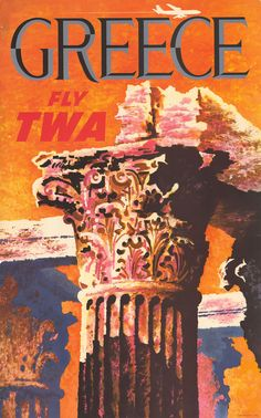 TWA Greece poster by David Klein 1959 America USA - Beautiful Vintage Poster Reproduction. American travel poster features the top of an ancient column and a plane flying across the orange sky. Party Vintage, Vintage Chic, Vintage Art, Retro Poster, Vintage Travel Posters, Vintage Airline, Travel Wall, Air Travel, Flyer