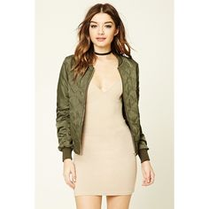 Forever21 Quilted Bomber Jacket ($33) ❤ liked on Polyvore featuring outerwear, jackets, olive, quilted jackets, zip up jackets, olive jacket, blouson jacket and long sleeve jacket