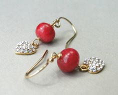 Earrings / Jewelry for Women / Ruby Dangle Earrings /