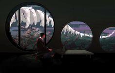 Fantasy Places, Korean Artist, Pretty Art, Pixel Art, Airplane View, Concept Art, Anime Art, Scenery, Digital Art