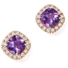 Amethyst Cushion Cut and Diamond Stud Earrings in 14K Rose Gold ($1,325) ❤ liked on Polyvore featuring jewelry, earrings, cushion cut diamond earrings, rose gold stud earrings, amethyst earrings, pink gold earrings and diamond earrings