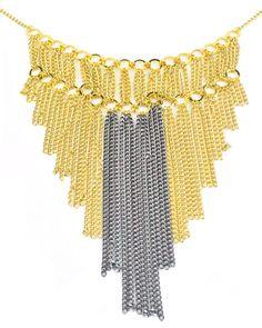 Maxi Colar Franja folheado a ouro com mix de dourado e grafite e corrente com pequenas argolas.