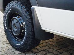 Selected new BF Goodrich 246/75 R16 AT's on black Mercedes factory fitted steel rims for our CS Independent Sprinter.