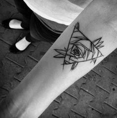 Triangle Glyph Tattoo design with a rose drawing in the middle. The design takes on a sketch theme and looks absolutely wonderful. It looks perfectly small, simple and neat.