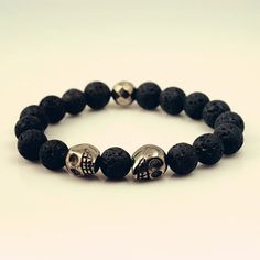 Tribal stretch bracelet lava stone pyrite by DonaQuichotteJewels, $25.00