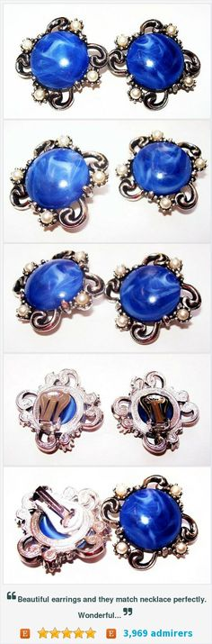 """Blue Pearl Earrings Marbled Glass Stones Silver Metal Clip On's 1.5"""" Vintage 1950s Japan? https://www.etsy.com/listing/398566485/"""