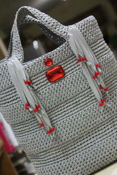 viscose ribbon with crystal bead and fringe tote bag #Crochet #CrochetBag…