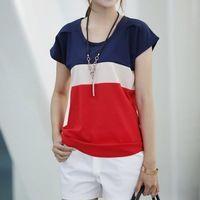 Blusa verão blusa feminina Chiffon de manga curta contraste cor Patchwork mulheres Tops DF-1006