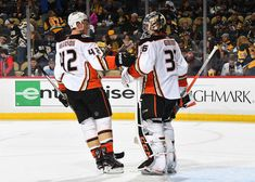 2fdc6512f John Gibson #36 of the Anaheim Ducks celebrates with Josh Manson #42 after a