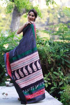 Black Tussar Silk Kaleidoscope Saree