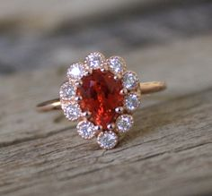 1.35 Ct. Padparadscha Sapphire Halo Ring in 14K Rose by Studio1040, $1690.00