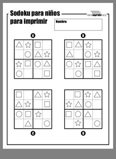 Writing Practice Worksheets, Kindergarten Math Worksheets, Preschool Math, Math Activities, Sudoku Puzzles, Printable Puzzles, Abacus Math, Montessori Math, Learning Websites