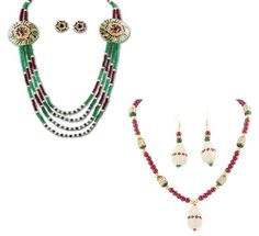 Buy Vendee Multi color Beaded NeckPiece combo @ Rs 2,130 #designer #jewellery #women #gold #diamond #setsonline #womenearings