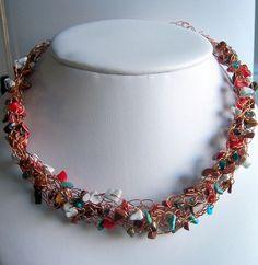 Wire crochet necklace wire crochet jewelry by starrydreams on Etsy, $65.00