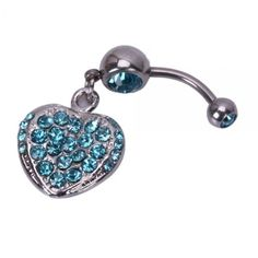 Blue Rhinestone Heart Style Barbells Navel Belly Button Ring
