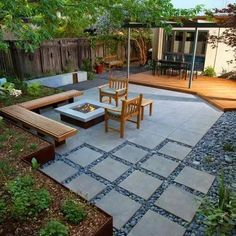 Love how the pavers have movement, the low bench instead of chairs, square fire pit with gas