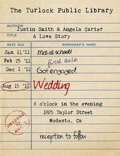 #RenshawDreamWedding Library Card Invitation Library Wedding by TheRedStarDesigns, $12.00