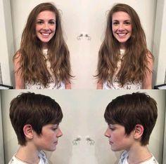 Long To Short Hair, Short Hair Cuts, Short Hair Styles, Before And After Haircut, Long Shorts, Pixie Haircut, Hair Beauty, Change, Hot
