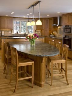 this is even better just extend from the counter into eating area round island kitchen island tablekitchen - Kitchen Counter Table