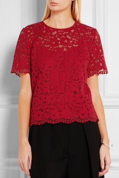Red guipure lace Zip fastening along back 62% cotton, 31% nylon, 7% elastane; trim: 92% silk, 8% elastane; lining: 100% polyester Dry clean Imported