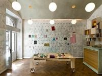 Papelote Stationery Shop by . Studio space with wall of binder clips Architecture Restaurant, Interior Architecture, Interior And Exterior, Interior Modern, Binder Clips, Floor Design, House Design, Design Design, Design Room
