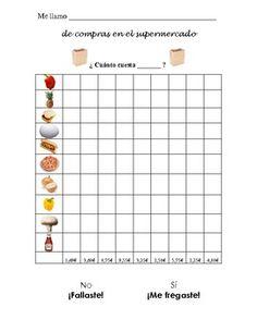 Spanish Information Gap Activity- Comprando en el supermercado. Reviews prices & foods in Spanish.