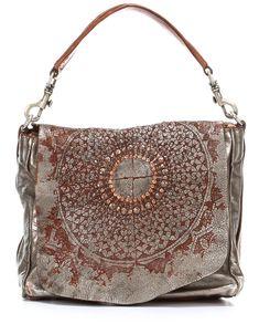 Campomaggi Lavata Gothic Hobo Leather silver 29 cm - C2032LAVL-7018 - Designer Bags Shop - wardow.com