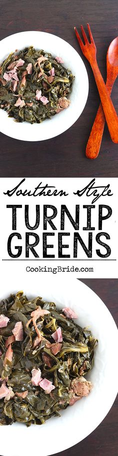 This recipe for Southern style turnip greens can also be used for cooking collard or mustard greens.
